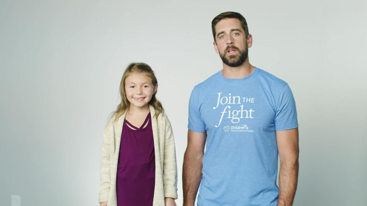 Green Bay Packers quarterback Aaron Rodgers is serving as the honorary chair of HSHS St. Vincent Children's Hospital's capital campaign