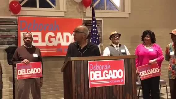 Hattiesburg Councilwoman Deborah Delgado announced she is running for state Senate on Wednesday, Feb. 27, 2019, at the train depot in Laurel.