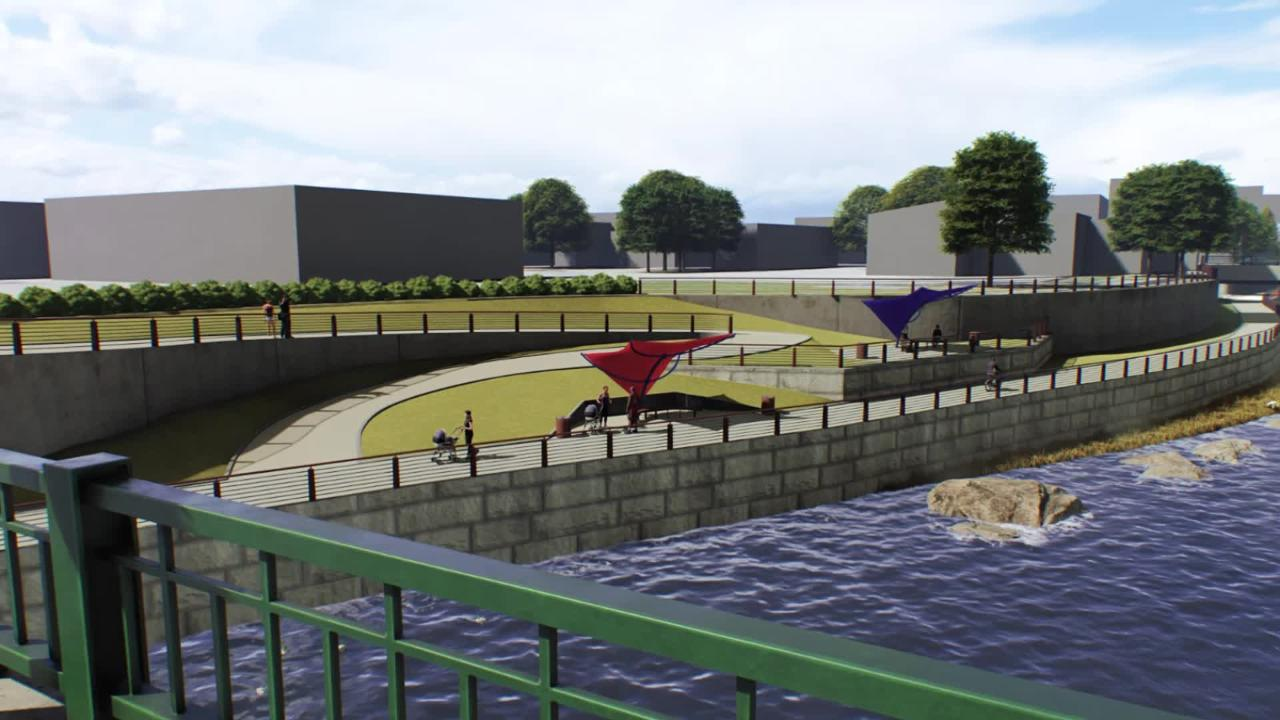 Buchart Horn provided this animation of what the Codorus Creek front in York City would look like after a proposed beautification project.