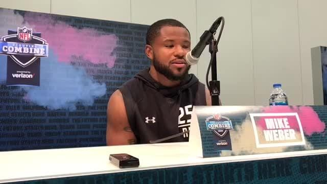 Ohio State running back Mike Weber (Detroit Cass Tech) speaks to the media at the NFL combine on Wednesday, Feb. 28, 2019, in Indianapolis.