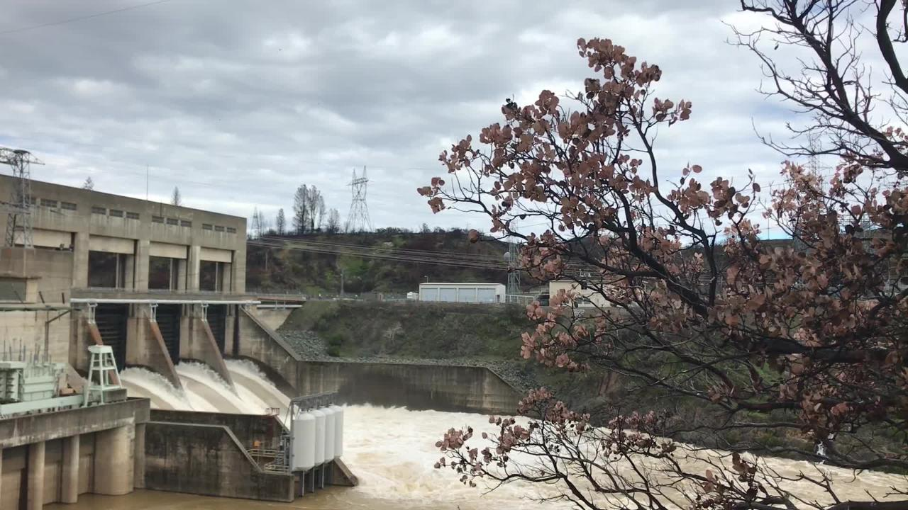 Officials on Thursday, Feb. 28, 2019, started releasing from Lake Shasta 25,000 cubic feet of water per second at Keswick Dam.