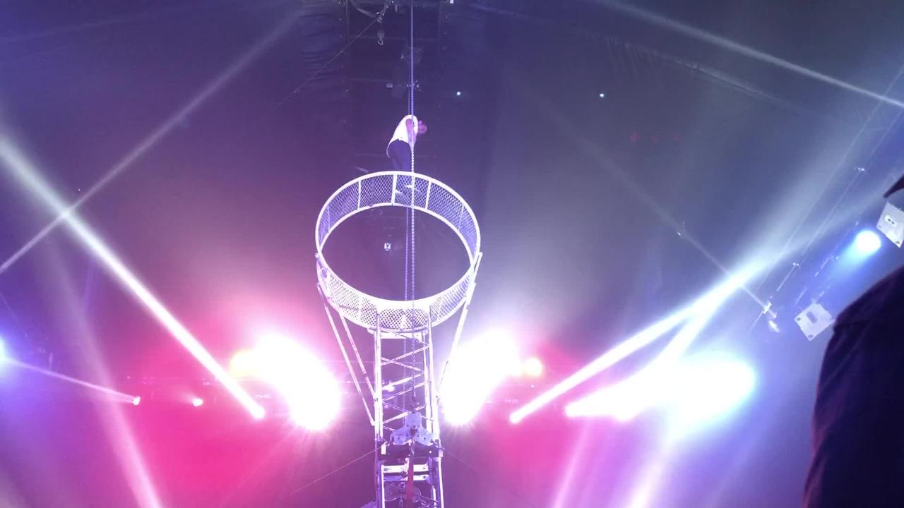 Rodrigo Fernandez performs stunts on the Wheel of Death at the Paranormal Cirque.