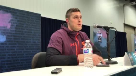 At NFL combine in Indy, Michigan's Zach Gentry explains why he declared early for draft, and how he can stand out in deep TE class. March 1, 2019.