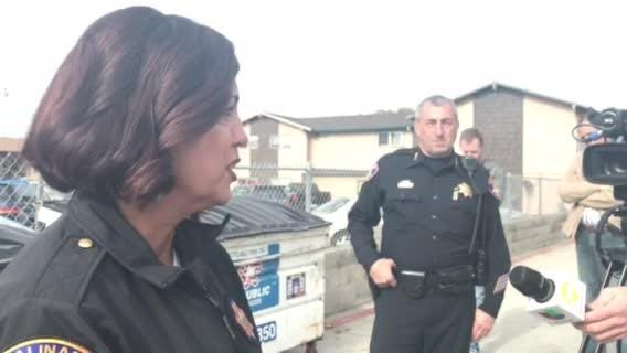 Salinas Police Cheif Adele Frese makese a statement on the officer-involved shooting on East Laurel Drive Friday.