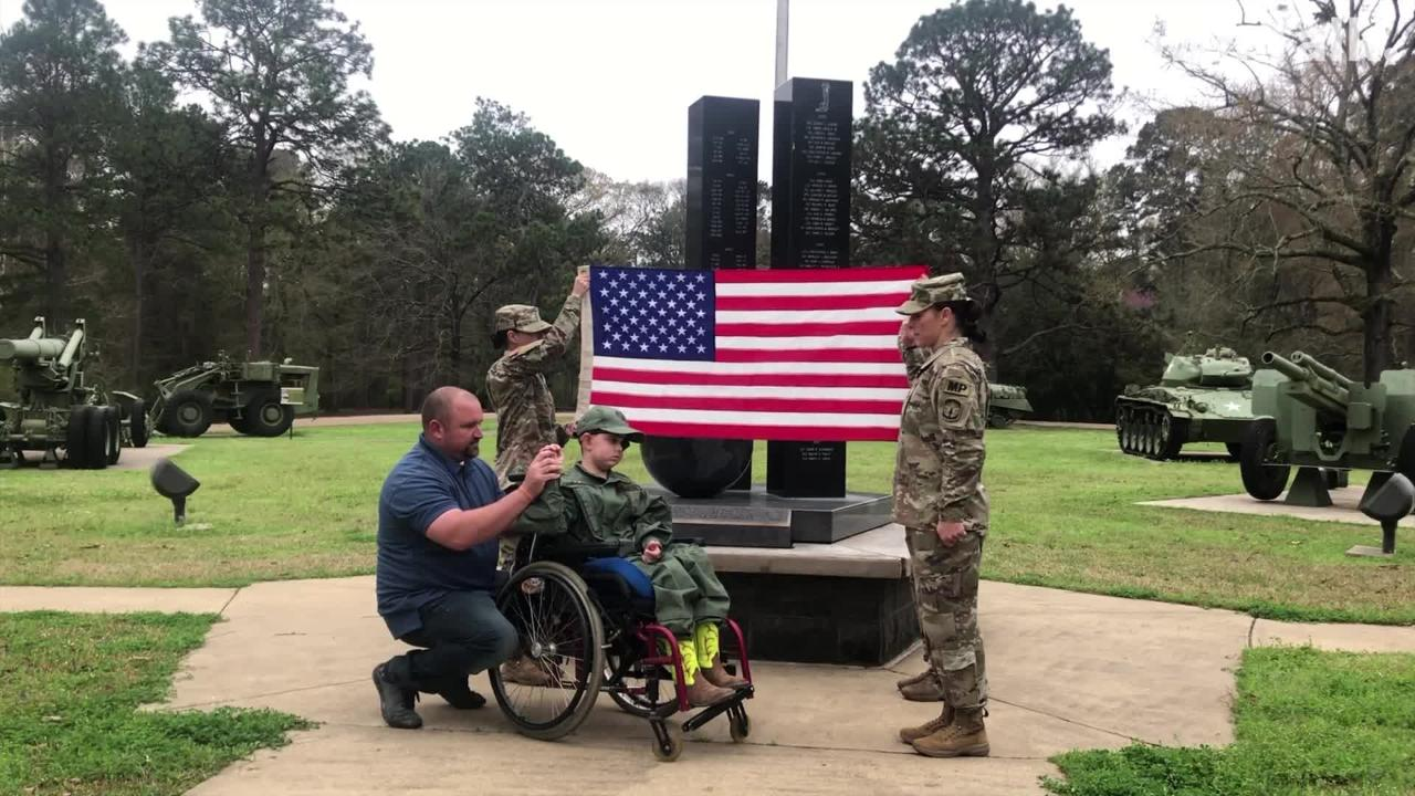 Drake Quibodeaux, 8, was inducted Friday as an honorary soldier at Fort Polk. The Vinton boy has a terminal brain tumor.