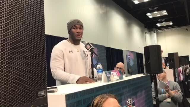 LSU linebacker Devin White on his love for horseback riding and his seven horses, at the NFL combine in Indianapolis, March 2, 2019.