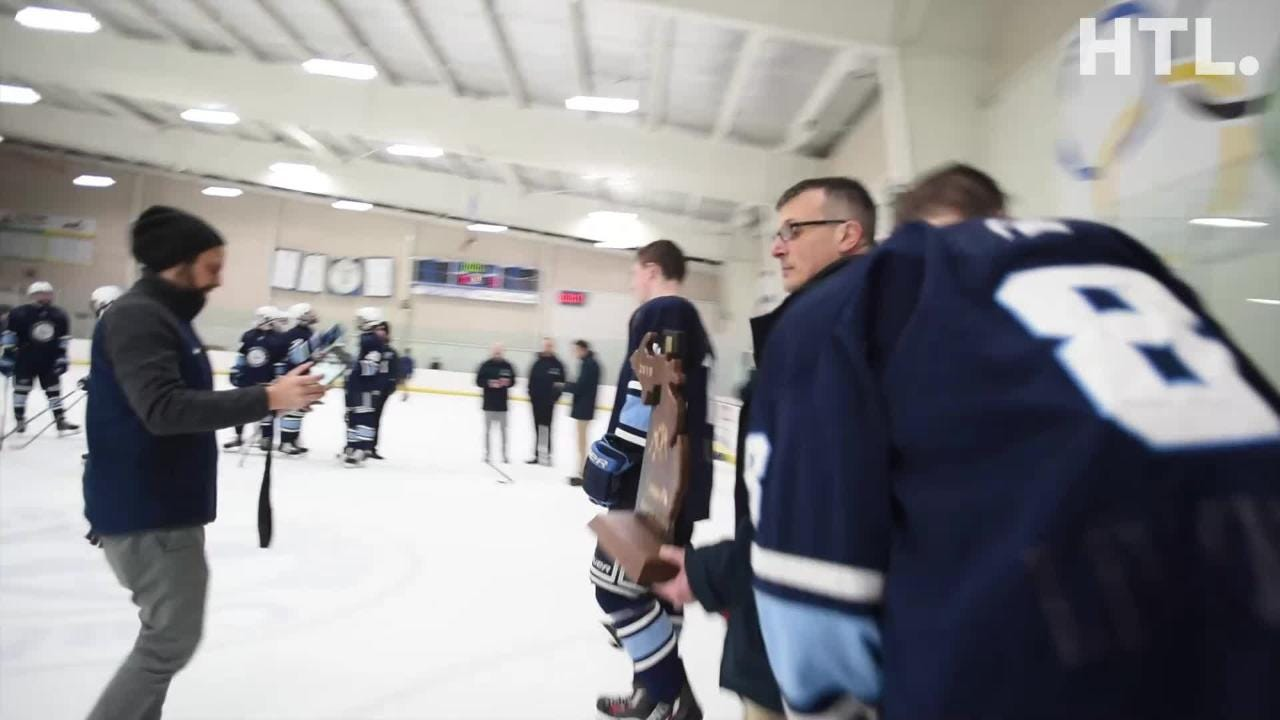 Livonia Stevenson celebrates hockey playoff win against Howell 3-0 on March 2. Stevenson will move on in playoffs March 5 at the Dearborn Skating Ctr.