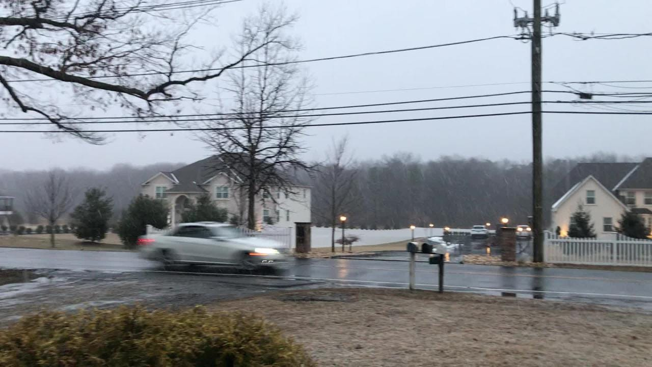 Snow began falling around 4 p.m. in Central Jersey on Sunday.
