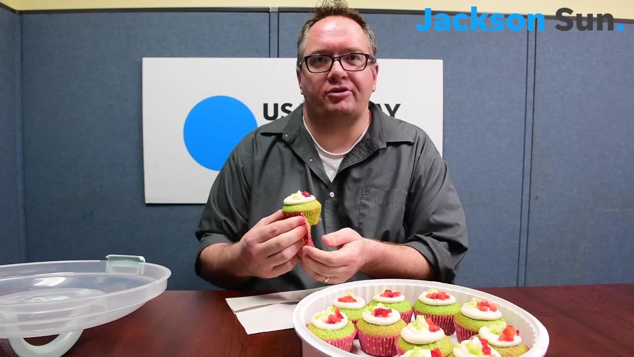 Jackson Sun reporter Cassandra Stephenson bakes spinach cupcakes for newsroom staff to try.