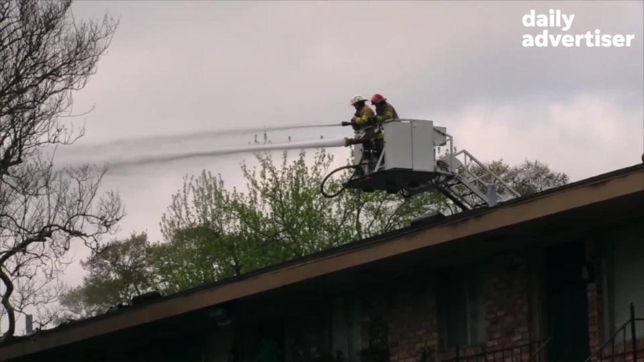 Lafayette Fire Fighters respond to Major fire at Maison Lafitte Apartments, 1108 South College Rd in Lafayette, LA.  Monday, March 4, 2019.