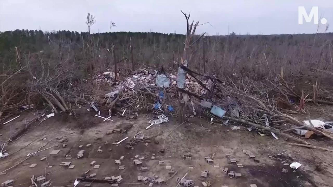 Tornado drone aftermath: Home's front door walkway now leads to nowhere