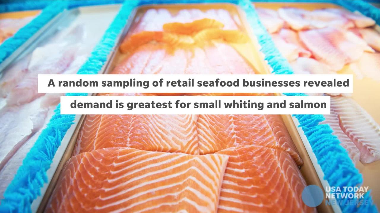 Whiting and salmon are the best sellers at fish stores at Lent, and all year.