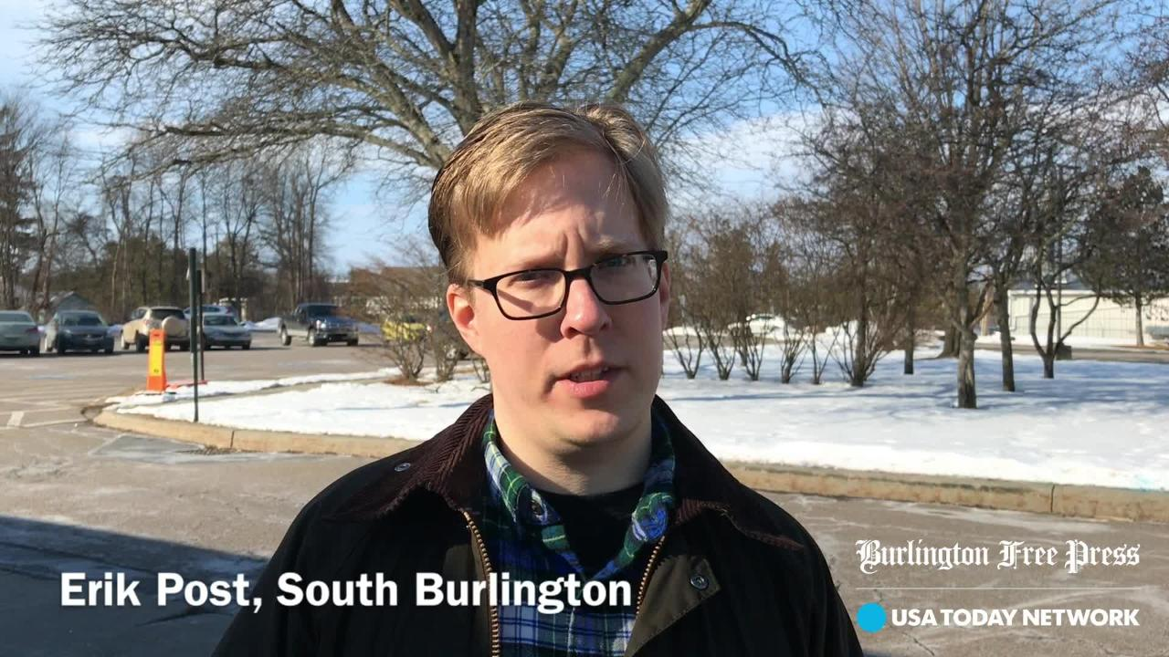 Erik Post of South Burlington talks about his key issue in voting on Town Meeting Day on Tuesday, March 5, 2019 at Orchard School.