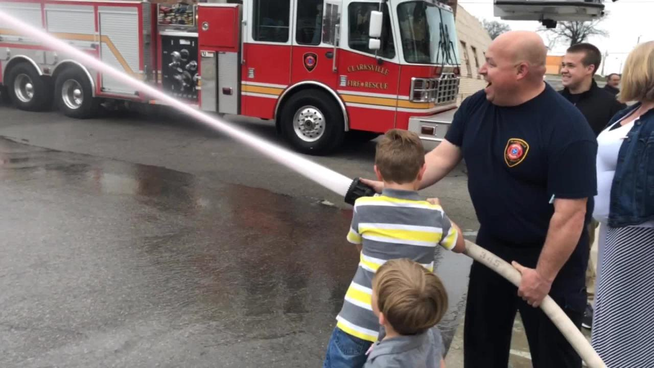 """Clarksville Fire Rescue held a """"firehouse style"""" gender reveal party for Mark Provo and his wife Amy at Station 1 on Friday, March 1, 2019."""