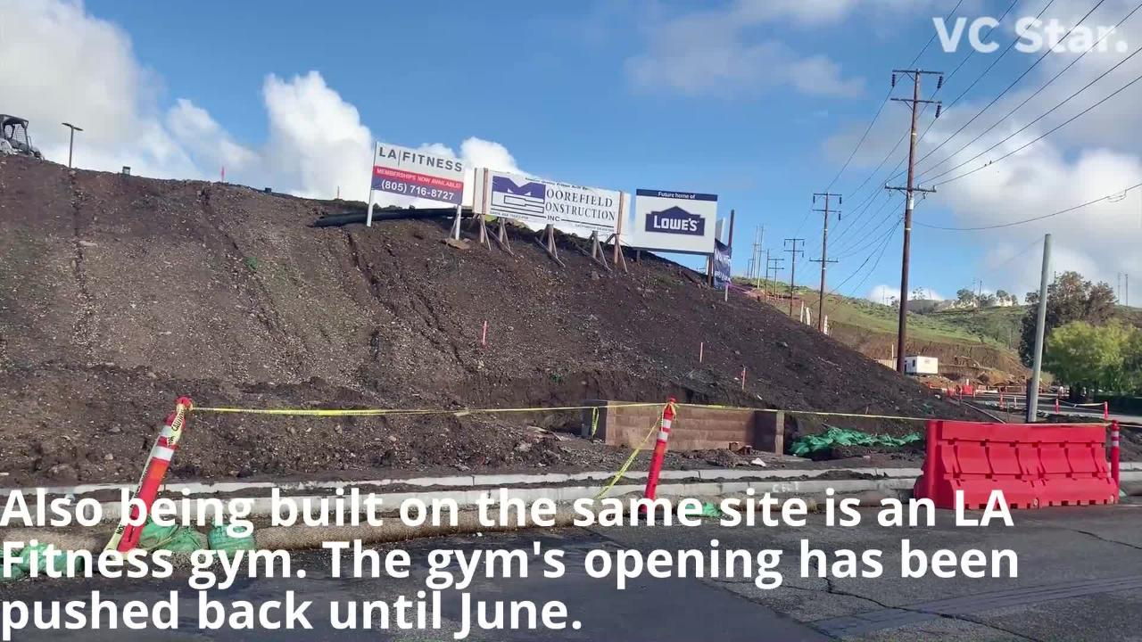 The opening of the home improvement store is now expected for later this year; an LA Fitness being built on the same lot is scheduled to open in June.