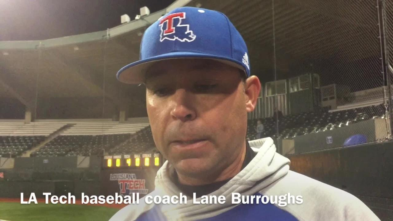 Louisiana Tech baseball coach Lane Burroughs shows frustration after his team's ugly loss to Northwestern State Tuesday night.