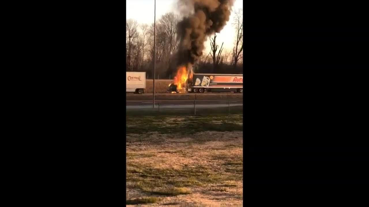 No one was injured after an Autozone semi caught fire on I-40 early Wednesday, March 6, 2019