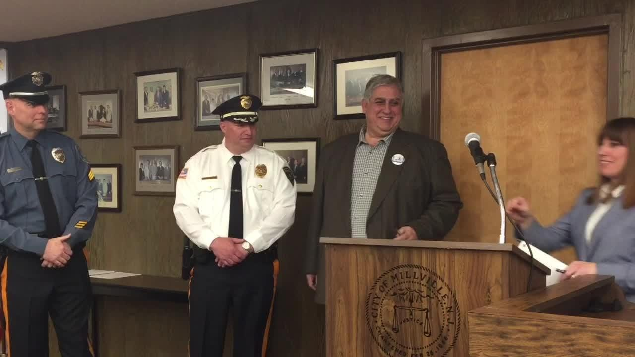 City officials praised retired Millville detective Sgt. Brian Starcher Tuesday and his replacement, Sgt. Richard Kott, at City Commission on Tuesday.