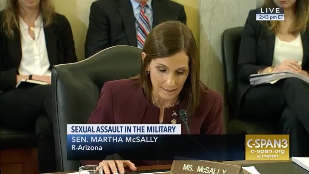 Sen. Martha McSally revealed during a congressional hearing Wednesday that she was raped by a superior officer while she was in the Air Force.