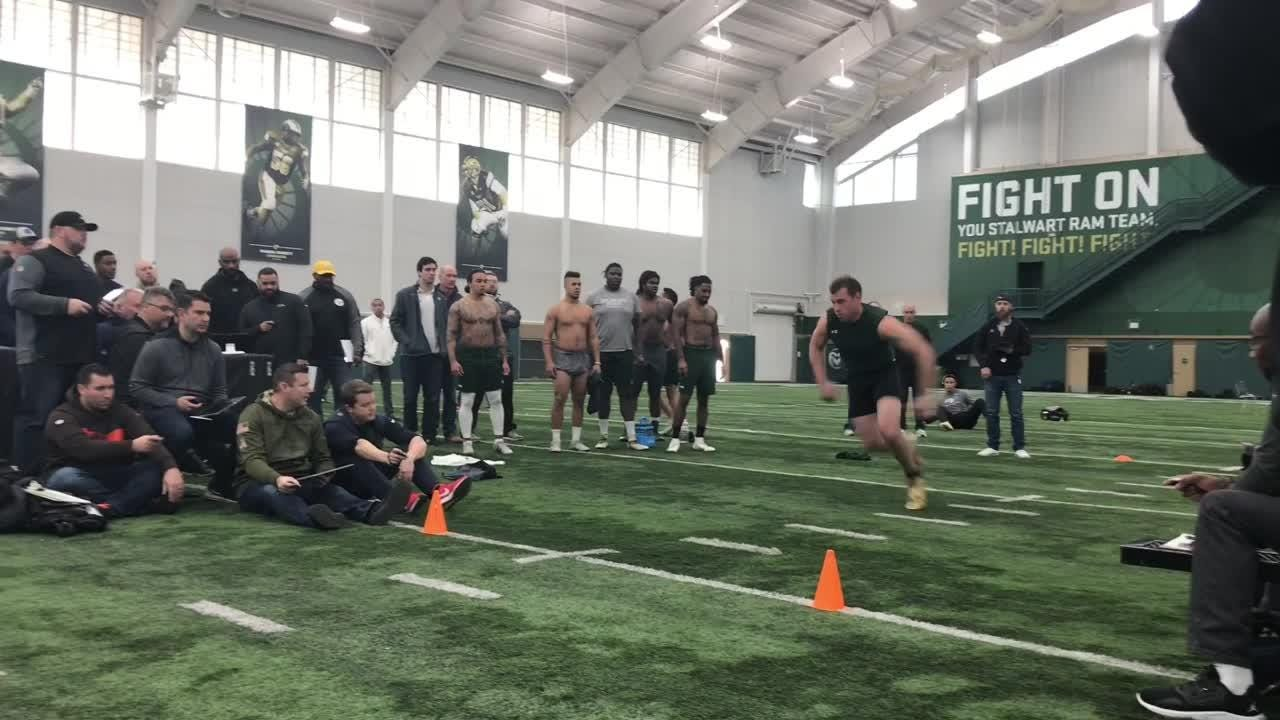 Receivers Preston Williams and Bisi Johnson and 10 other players from Colorado State University's football program participate in pro day tests