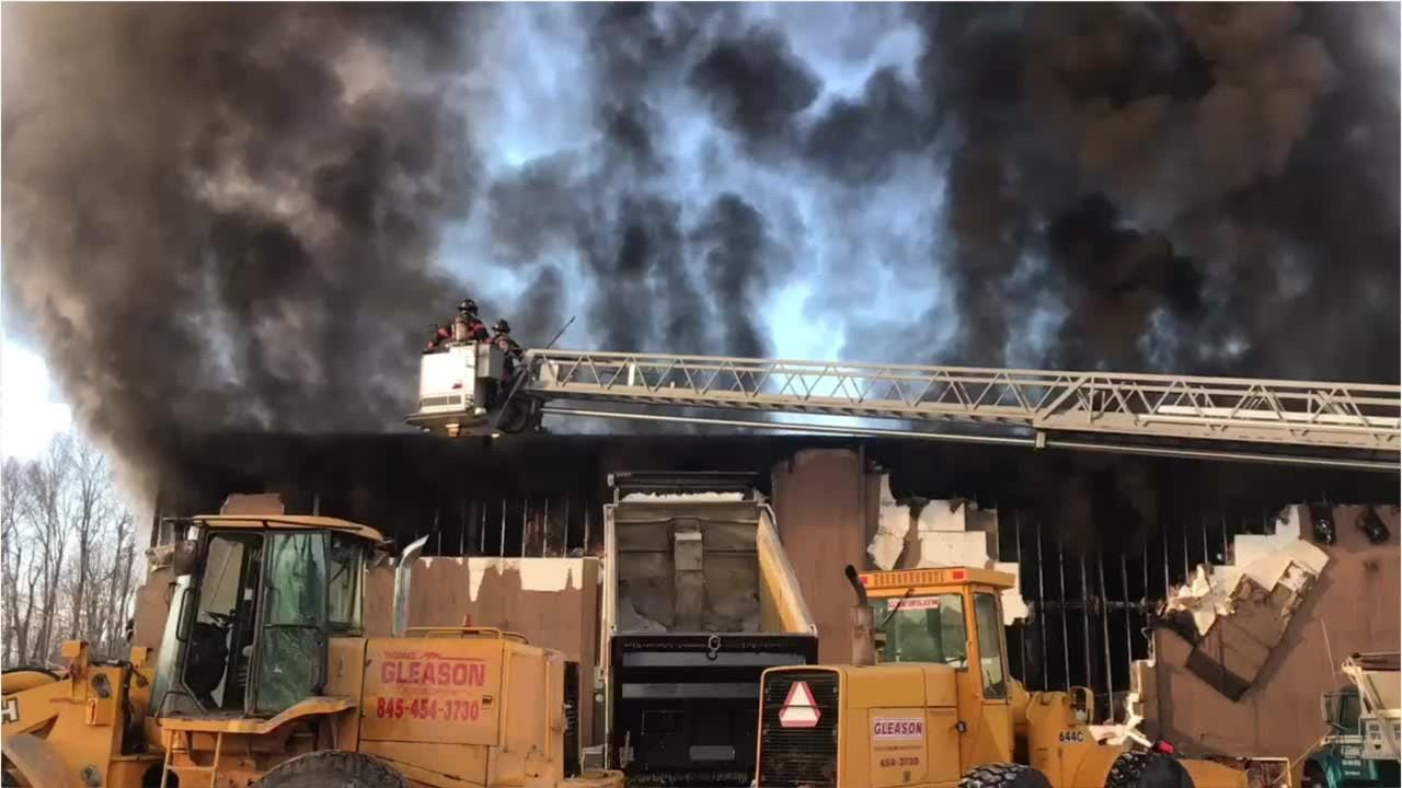 Multiple agencies reported to a massive fire at the Thomas Gleason excavation company in Poughkeepsie on Thursday.
