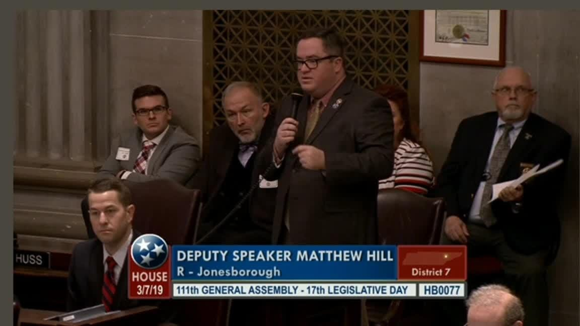 Rep. Matthew Hill, R-Jonesborough, discusses the amendment he proposed in regards to the fetal heartbeat bill. The amendment was approved.