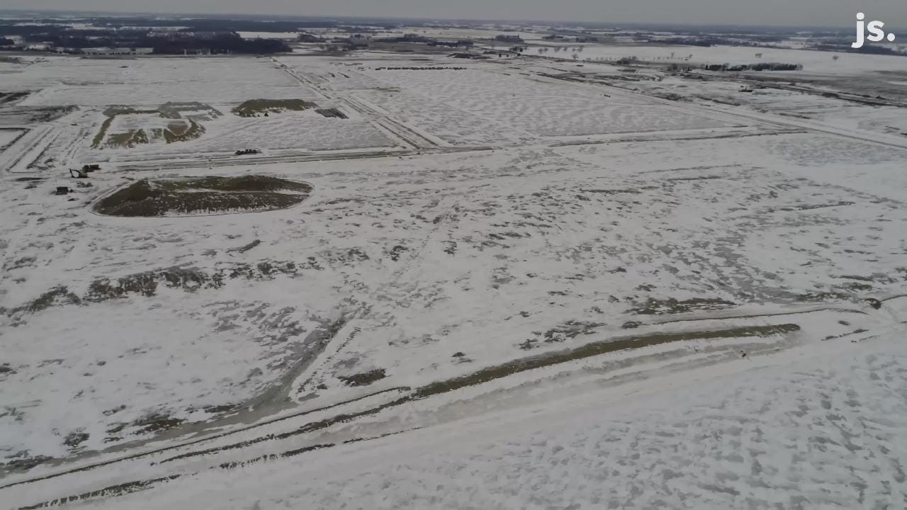 Drone video of Foxconn construction site  in Mount Pleasant as of March 7, 2019