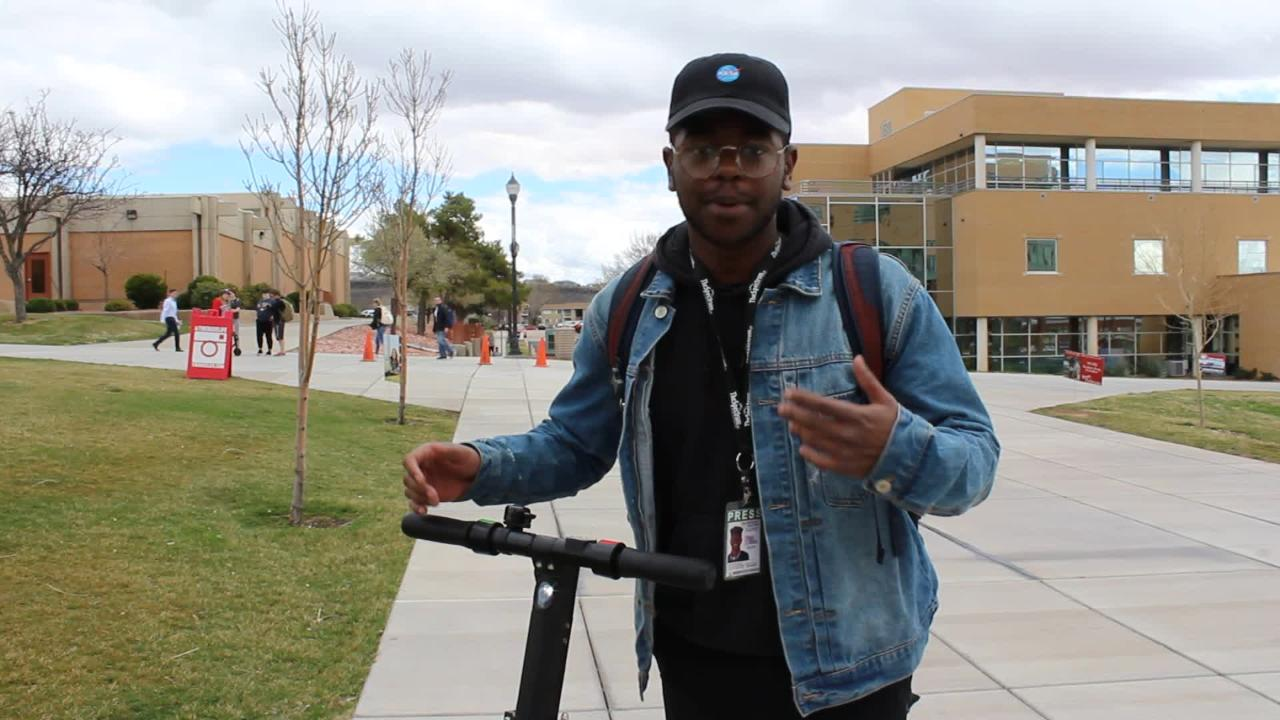 Spectrum News reporter Terell Wilkins takes viewers for a spin on one of St. George's new Spin-branded electric scooters.
