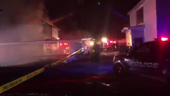 A fire that demanded the efforts of several fire departments to contain raged at a Canton apartment complex Friday night.