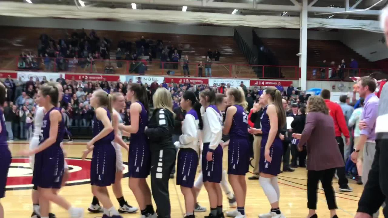 The Albany girls basketball team and its fans celebrate after winning Section 6-2A with a 60-29 victory over Pine City at Halenbeck Hall.