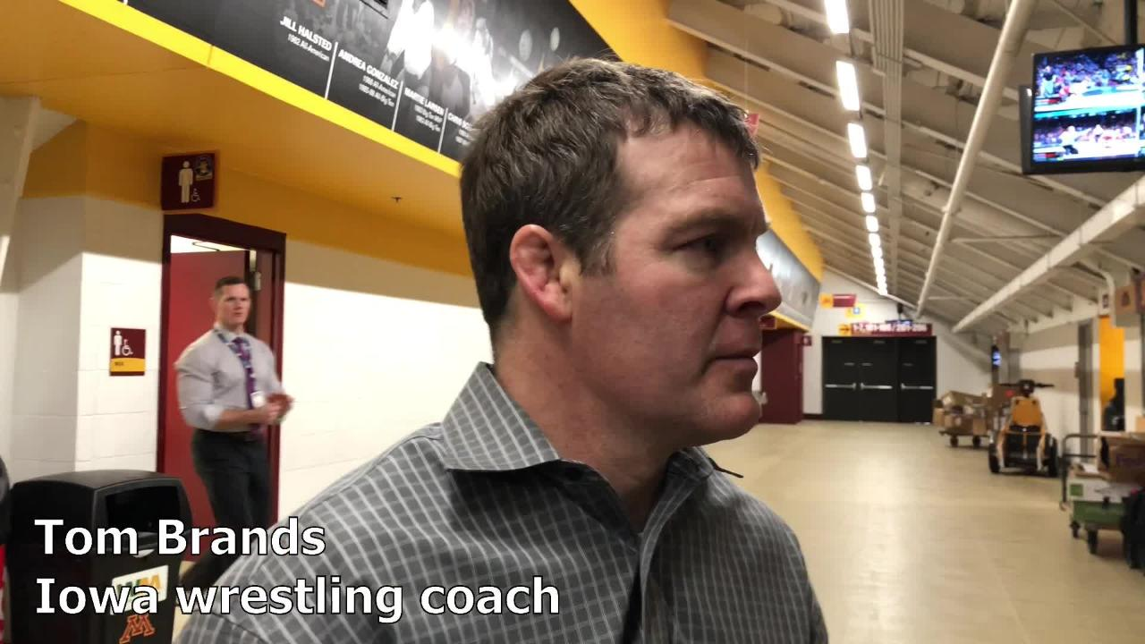 Iowa wrestling coach Tom Brands after Session I at the Big Ten Championships