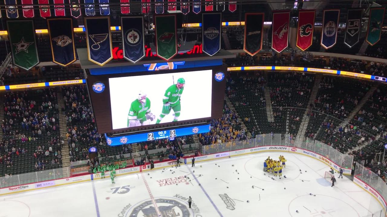 St. Cloud Cathedral reacts after winning the first state boys hockey championship in school history Saturday at the Xcel Energy Center in St. Paul.