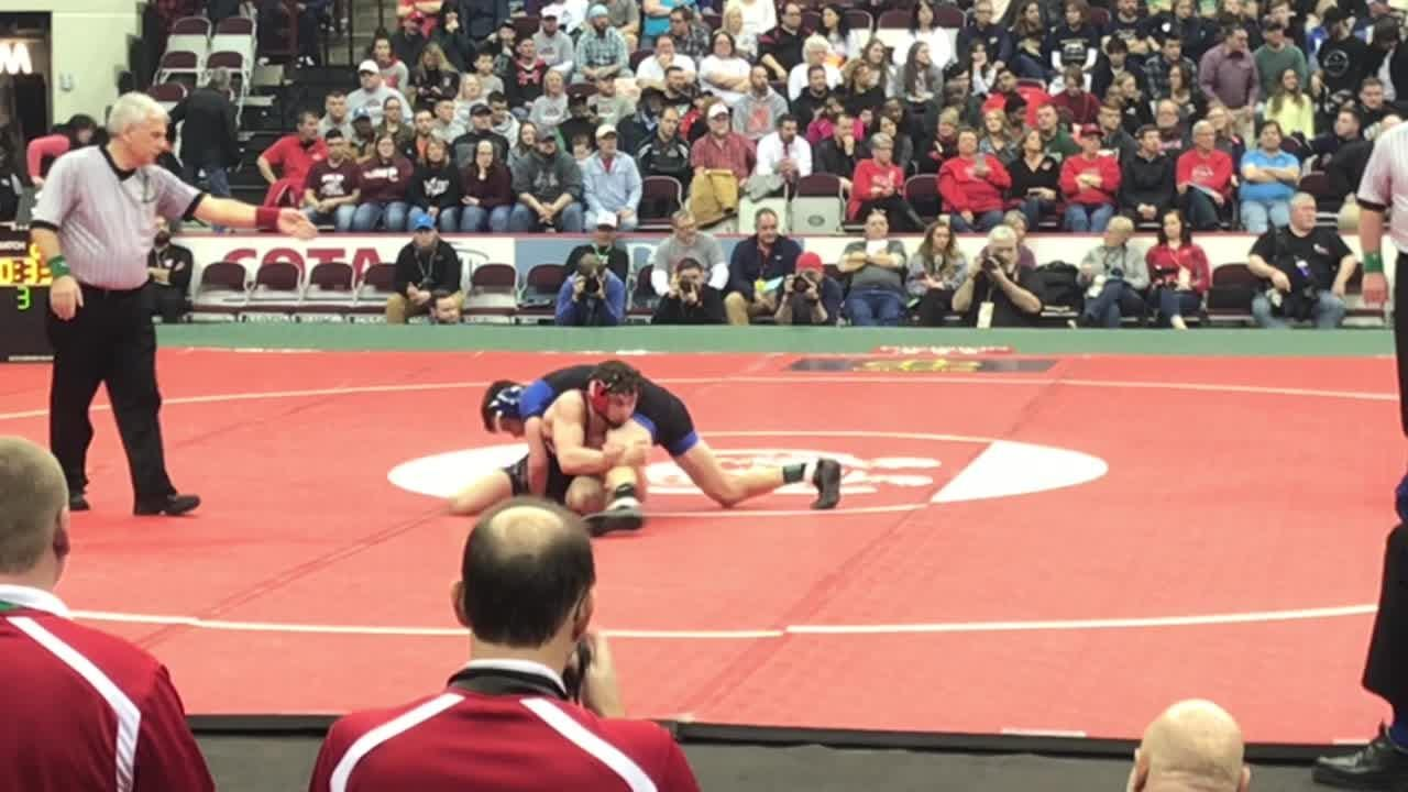 Coshocton junior Lucian Brink used a third-period reversal and near-fall to win 6-3 for the Division III 113-pound state title.