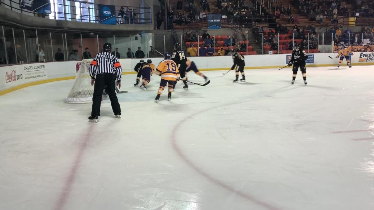 Video of goals from Elmira's Kristin Chivers and Maddy Jerolman in a 3-2 OT loss to Adrian in a Division III women's hockey quarterfinal March 9.