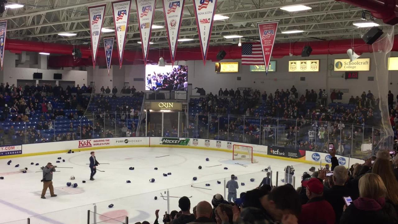 Detroit Catholic Central celebrates its state championship on March 9, 2019.