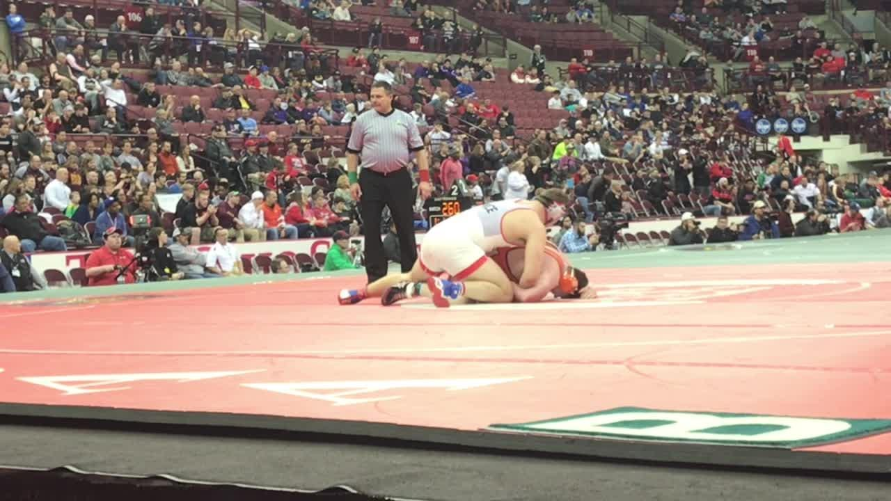 St. Joseph Central Catholic senior Noah Price finished a 49-0 senior season Saturday with a Division III heavyweight state title.