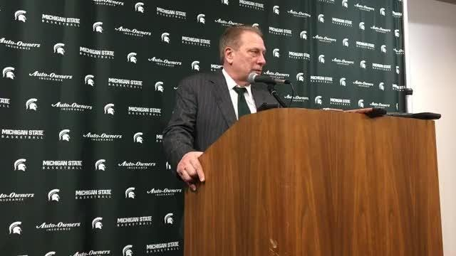 Michigan State basketball coach Tom Izzo speaks to the media after the 75-63 win over Michigan on Saturday, March 9, 2019, in East Lansing.