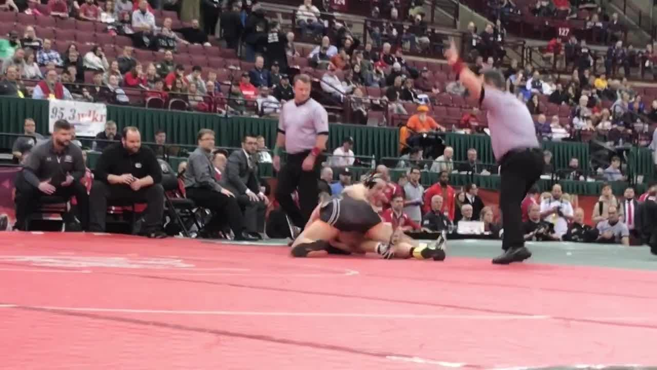Ashland senior Josh Bever hit a takedown with 12 seconds left to win a state wrestling championship