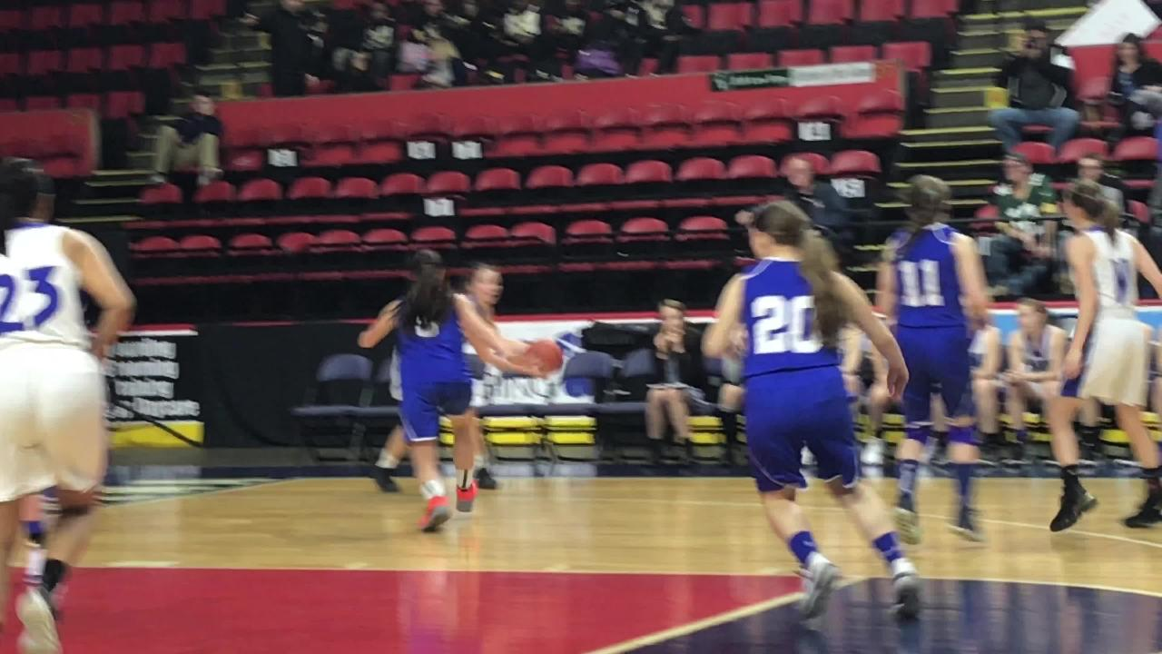 South Kortright's Anna Reinshagen receives a pass from Carli Pardee and hits a three-pointer in the second half of Sunday's Class D state quarterfinal