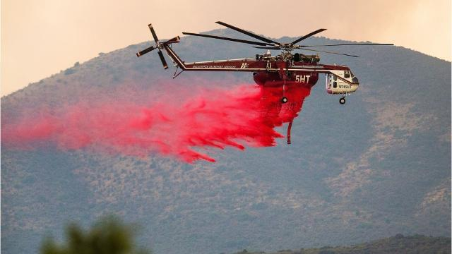What is that red liquid poured on wildfires?