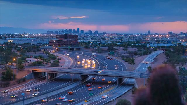 Time-lapse view of monsoon storm from Broadway curve in Phoenix