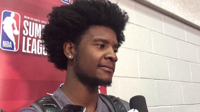 Suns first-rounder Josh Jackson talks about the Suns' first-round win in the NBA Summer League tournament in Vegas on Wednesday.  Andrew Vailliencourt/azcentral sports