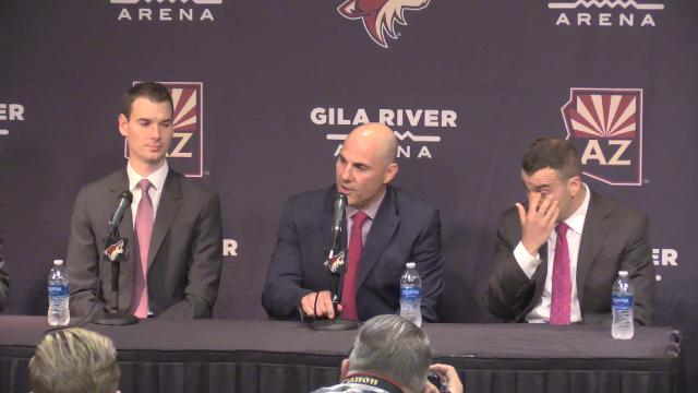 The Arizona Coyotes introduced new coach Rick Tocchet and president Steve Patterson at a news conference in Glendale on July 13, 2017.
