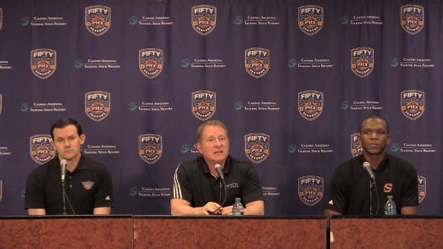 Suns' Robert Sarver discusses his team's arena situation during a press conference on Wednesday at Talking Stick Resort Arena.