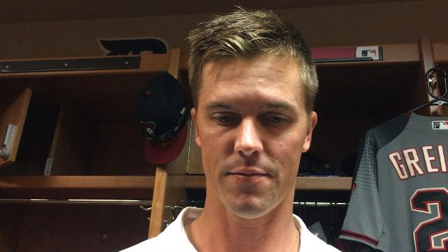 Diamondbacks right-hander Zack Greinke says his location on Wednesday night wasn't as good as it has been in previous starts.