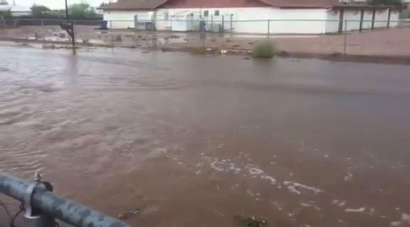 Flooding in Apache Junction on S. Ocotillo Road. Robert Geist/azcentral.com