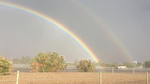 Double rainbow after storm moves through