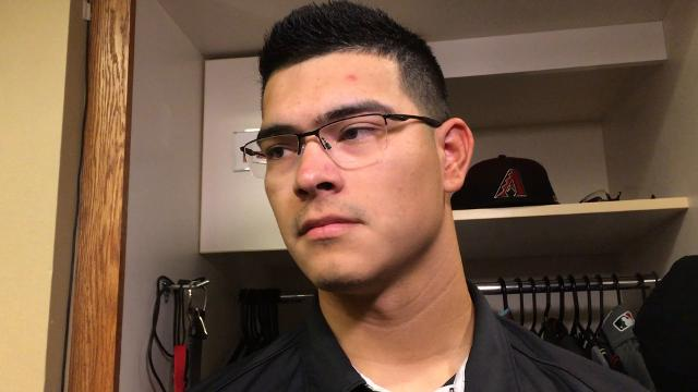 Anthony Banda on his first big-league victory