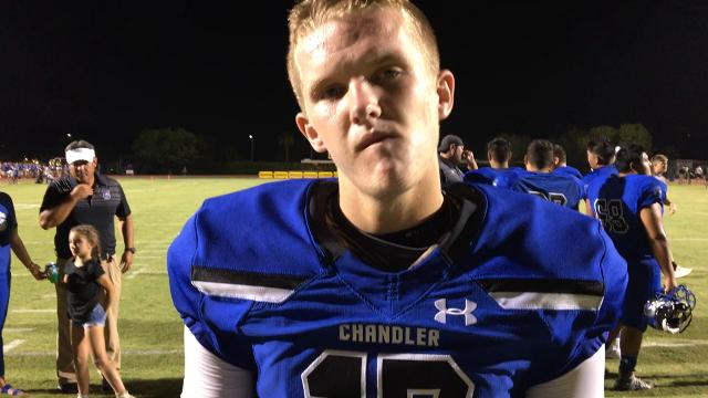 Chandler quarterback Jacob Conover on his team's 42-14 win over Mesa Red Mountain.