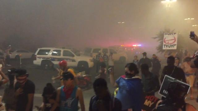 Demonstrators pepper-sprayed at Trump rally in Phoenix